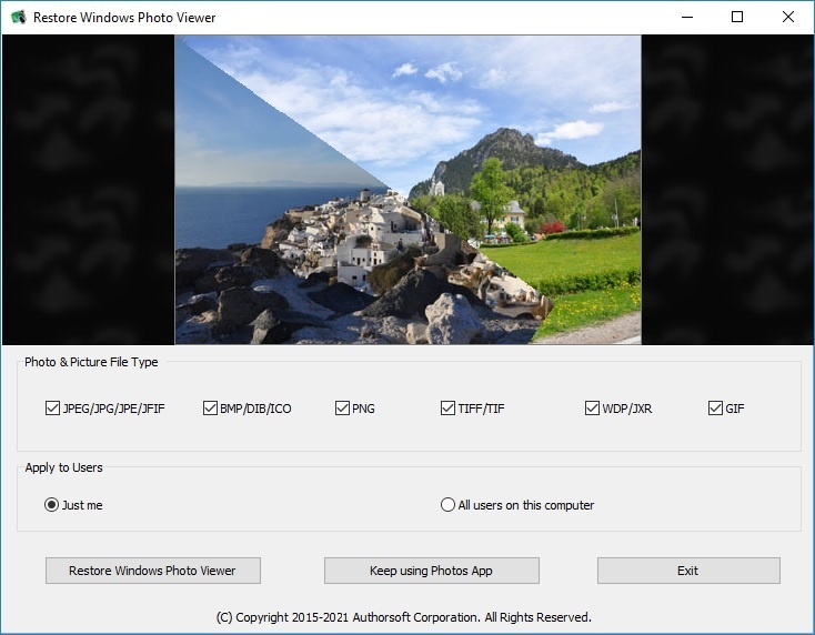 Click to view Restore Windows Photo Viewer 1.21 screenshot